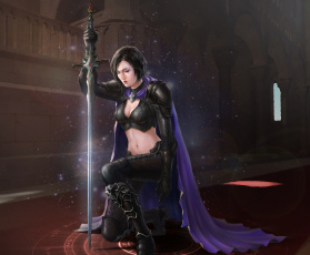 Картинка фэнтези девушки арт искры замок плащ меч воин девушка yuxiang luo