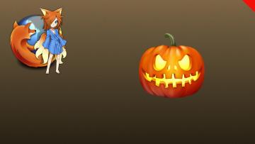 обоя компьютеры, mozilla firefox, логотип, тыква, фон, halloween
