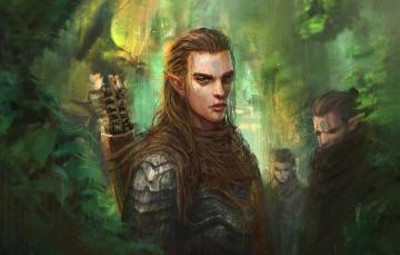 обоя фэнтези, эльфы, лес, арт, trung, tin, shinji, elf, prince, эльф
