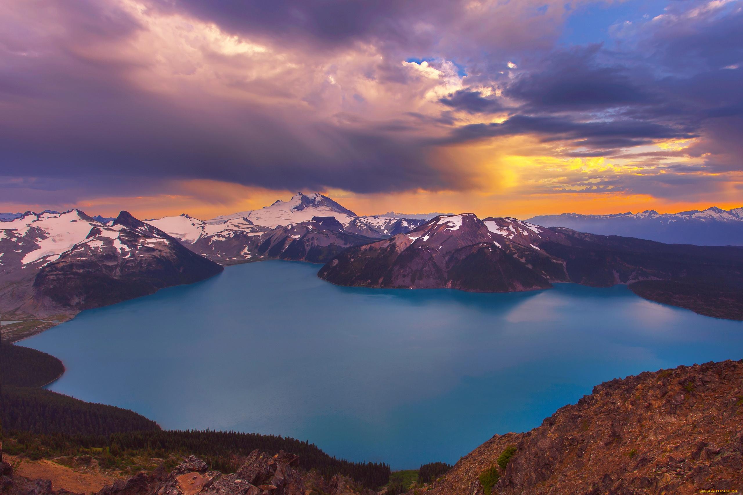 закат, скалы, озеро  № 661853 бесплатно
