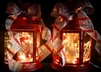 Картинка праздничные новогодние свечи подсвечники банты ленты