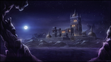 обоя фэнтези, замки, скалы, ночь, замок, луна, месяц, горы