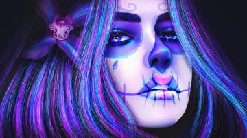 обоя фэнтези, нежить, девушка, sugar, skull, лицо, цветок, череп, макияж