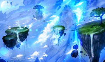 обоя фэнтези, пейзажи, луна, облака, водопады, скалы, ночь, летающие, остарова, дерево