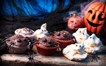 обоя праздничные, хэллоуин, паук, шоколад, baking, пирожное, тыква, хеллоуин, pumpkin, halloween, chocolate, кексы