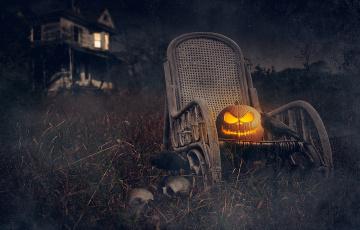 обоя праздничные, хэллоуин, черепа, праздник, halloween, тыква, дом, ночь, грачи