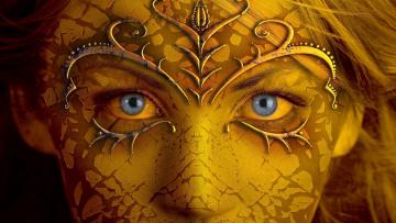 обоя фэнтези, девушки, blue, eyes, gold, skin