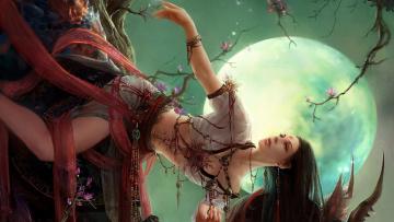 обоя фэнтези, девушки, луна, украшения, дерево, девушка