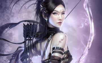 обоя фэнтези, девушки, девушка, кровь, лук, стрелы, лучница