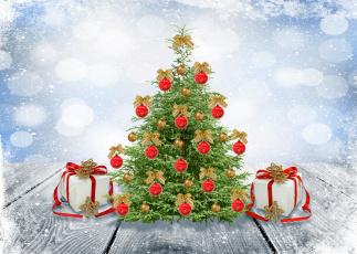 Картинка праздничные Ёлки шары елка зима снег merry snow winter decoration christmas игрушки банты рождество новый год