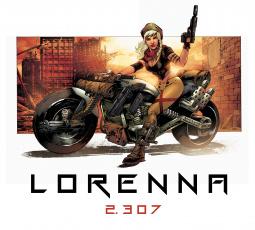 обоя рисованное, комиксы, мотоцикл, девушка, оружие, взгляд, фон
