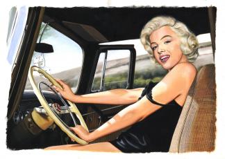 обоя marilyn monroe, рисованное, люди, взгляд, фон, девушка, автомобиль, улыбка
