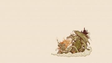 обоя рисованное, минимализм, сказка, фон, девушка, дракон, рыцарь, замок