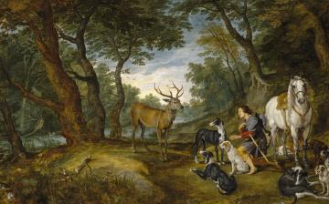 обоя рисованное, живопись, видение, святого, губерта, лес, лошадь, Ян, брейгель, старший, олень, собаки, мифология