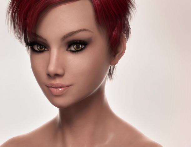 Обои картинки фото 3д графика, портрет , portraits, фон, взгляд, девушка