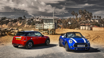 обоя mini hardtop 2 door and mini cabrio 2019, автомобили, mini, 2, door, cabrio, 2019, red, blue, hardtop