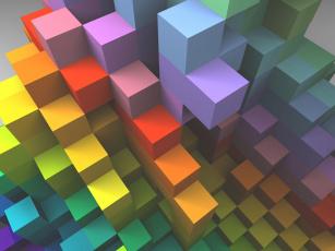 обоя векторная графика, графика , graphics, кубики, цвета, фон, узор