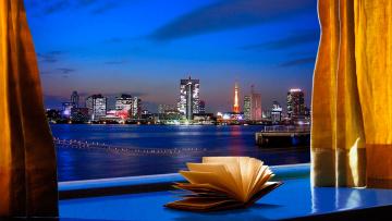обоя города, - огни ночного города, книга, окно