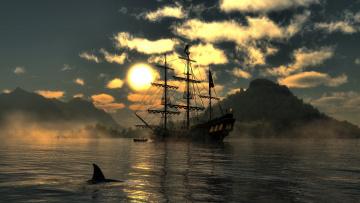 Картинка корабли 3d закат море парусник
