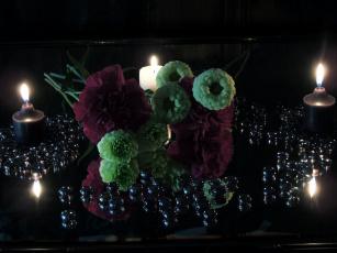 обоя разное, свечи, гвоздики, пламя, композиция