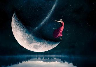 обоя разное, компьютерный дизайн, ночь, озеро, небо, луна, девушка