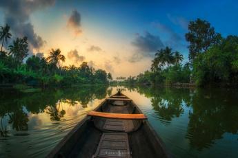 обоя корабли, лодки,  шлюпки, отражения, джунгли, пальмы, лодка, река