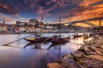 обоя корабли, другое, мост, река