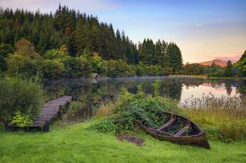 обоя корабли, лодки,  шлюпки, озеро, лодка, деревья, кусты