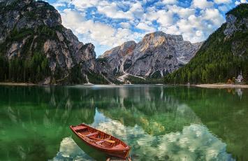 обоя корабли, лодки,  шлюпки, отражение, горы, лодка, озеро, браиес, щипкова, елена, доломитовые, альпы