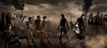 обоя разное, cosplay , косплей, девушки, фон, взгляд, униформа, оружие