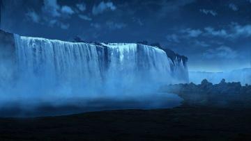 Картинка 3д+графика природа+ nature водопад река поток