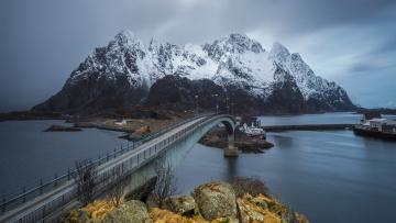 Картинка города -+мосты мост лофотенские острова горы норвегия