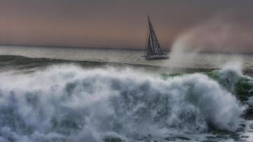 обоя корабли, Яхты, пейзаж, брызги, волны, парусник, море