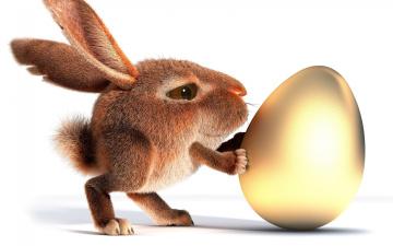 обоя 3д графика, юмор , humor, яйцо, кролик