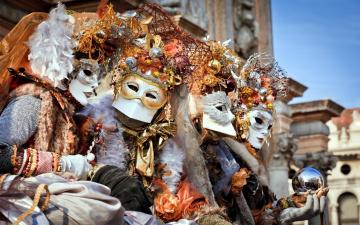 обоя разное, маски,  карнавальные костюмы, карнавал, венеция