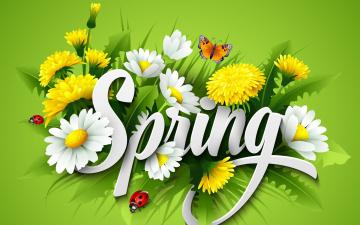обоя векторная графика, цветы , flowers, бабочки, фон, цветы, весна