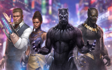 обоя black panther marvel future fight artwork, рисованное, кино, artwork, fight, future, marvel, black, panther