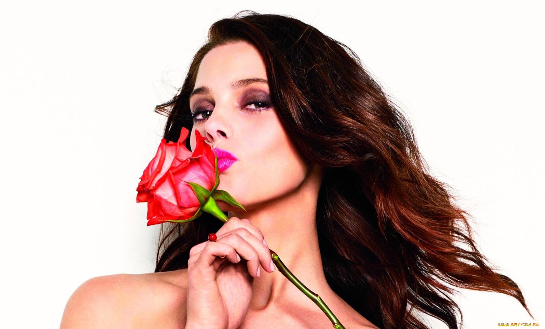 Открытки девушек с розами в руках, смешная картинка