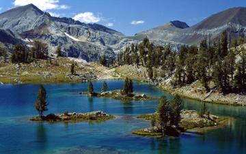 Картинка природа реки озера пейзаж горы озеро островки деревья