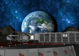 Картинка 3д+графика fantasy+ фантазия планета космический корабль