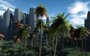 Картинка 3д+графика природа+ nature облака горы пальмы