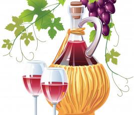Картинка векторная+графика еда+ food бокал вино виноград