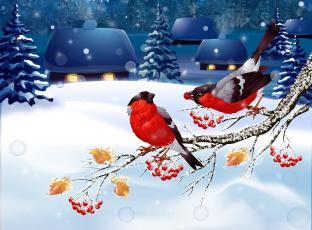 обоя векторная графика, птицы , птицы, снег, снегири, пейзаж, зима