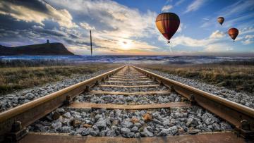 обоя авиация, воздушные шары, дорога, железная, шары, рельсы