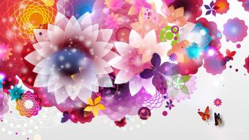 обоя векторная графика, цветы , flowers, фон, цветы, лепестки