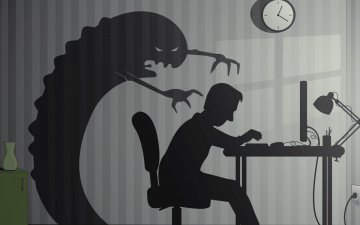 обоя векторная графика, мультфильмы , cartoons, стена, человек, монстр, часы, силуэт, компьютер