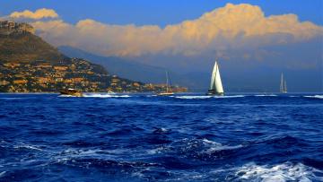 обоя корабли, разные вместе, яхты, лодки, горы, море, катера, парусники, вода