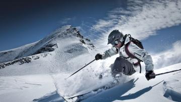 обоя спорт, лыжный спорт, снег, слалом, горы, спуск, лыжник