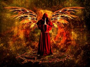 обоя фэнтези, фотоарт, монах, капюшон, крылья, мужчина, фон