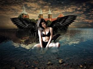 обоя фэнтези, фотоарт, ворон, девушка, крылья, замок, взгляд, вода, фон